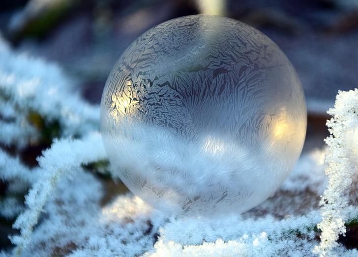 bombolla, bombolla de sabó, boles, fons, l'hivern, fred, gelades