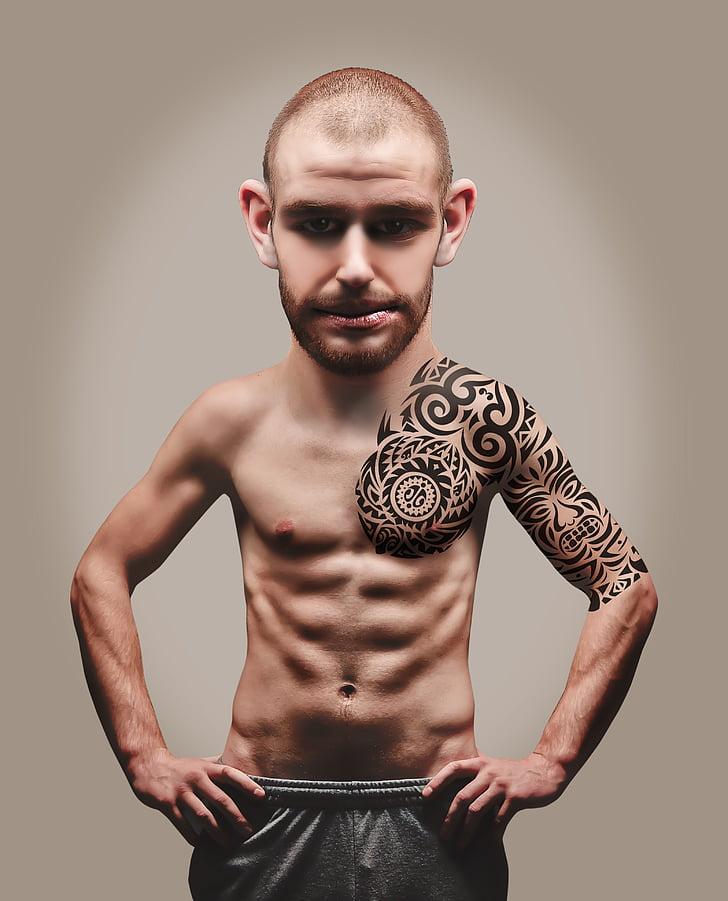 mišice, človek, mišične, trup, fant, odraslih, tatoo