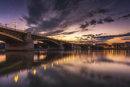 puente, cuerpo, agua, amarillo, puesta de sol, nube, reflexión