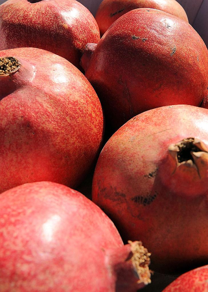 magranes, madures, fresc, fruita, vermell, tropical, crua