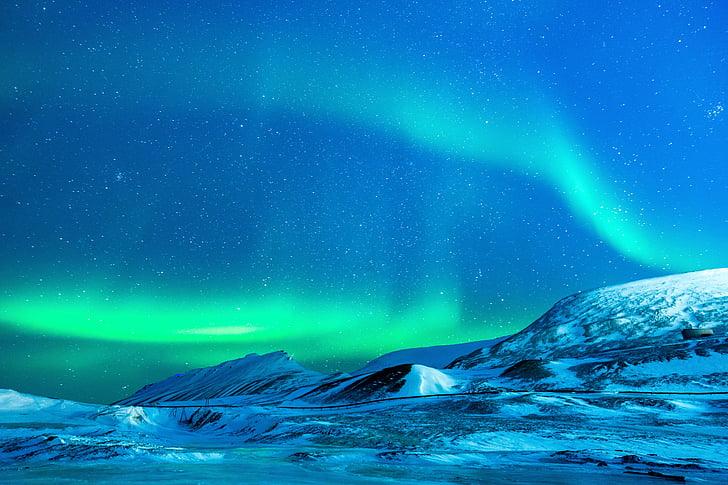 ledovec, Aurora, noční, sníh, Severní pól, Příroda, polární světla