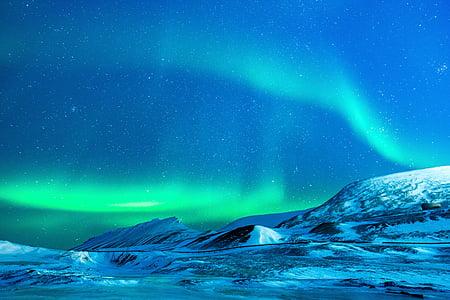 glaciar de, Aurora, noche, nieve, Polo Norte, naturaleza, Luces polares