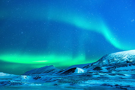 Glacier, Aurora, nat, sne, Nordpolen, natur, Polar lys