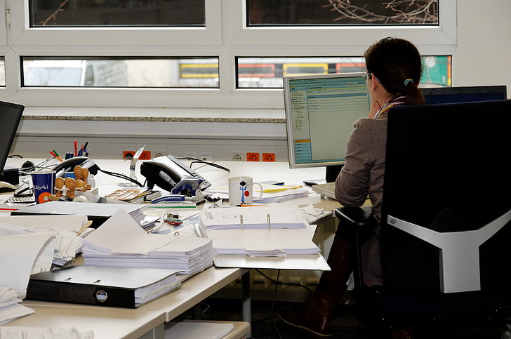 sekretārs, biroja darbu, biroja, rakstāmgalds, monitors, darba, dators
