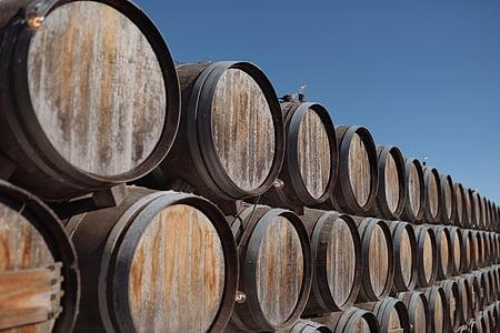 brun, trä, fat, trä, Wine cask, fat, vin