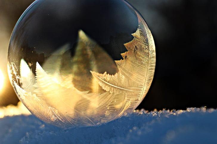 eiskristalle, bombolla de sabó, gelades, congelat, l'hivern, bombolla, fred
