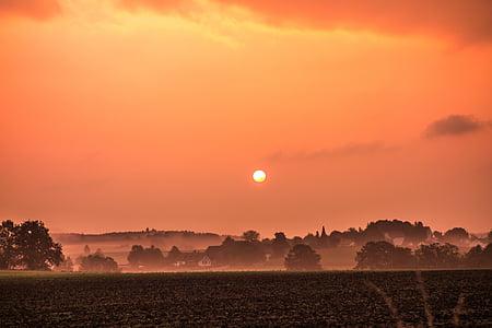 Alba, paisatge, poble, natura, sol, morgenstimmung, llum