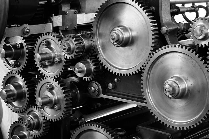 gears, cogs, machine, machinery, mechanical, printing press, gears and cogs