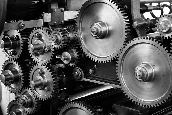 engranatges, COG, màquina, maquinària, mecànica, impremta, marxes i dents