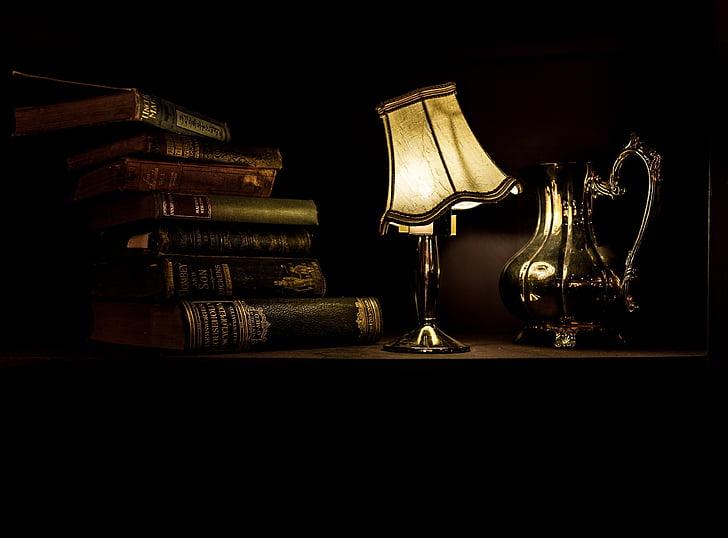 bodegons, Làmpada, llum, il·luminació, càlid, resplendor, vell