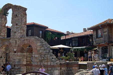 Bulgária, régi templom romjai, óváros, ősi, kereszténység, történelmi, templom