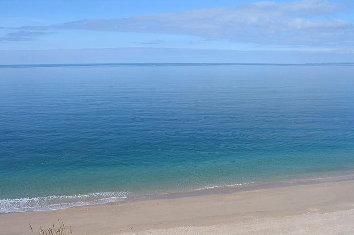 mar en calma, platja, faig de Cornualla, Mar, calma, Costa, riba