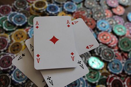 póker, zseton, ász, zöld, piros, szerencse, játék