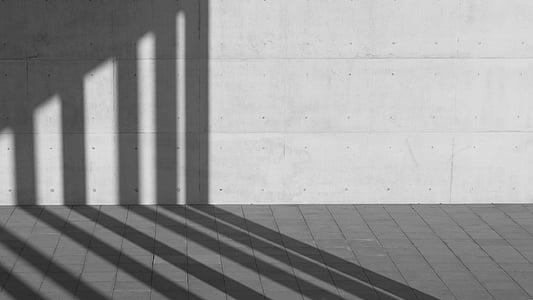 Архітектура, Будівля, Структура, Стіна, за межами, тінь, чорно-біла
