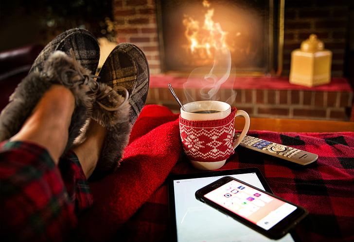 relaxant, descansant, dissabte, acollidor, llar de foc, l'hivern, sala d'estar