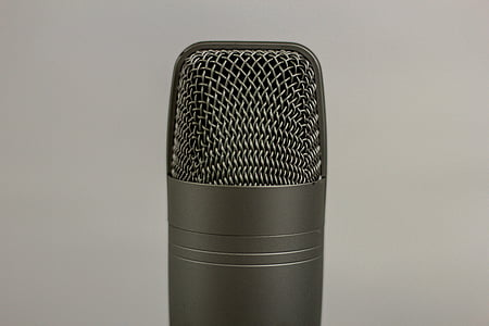 чорний, конденсор, мікрофон, мікрофон, запис, аудіо, подкаст