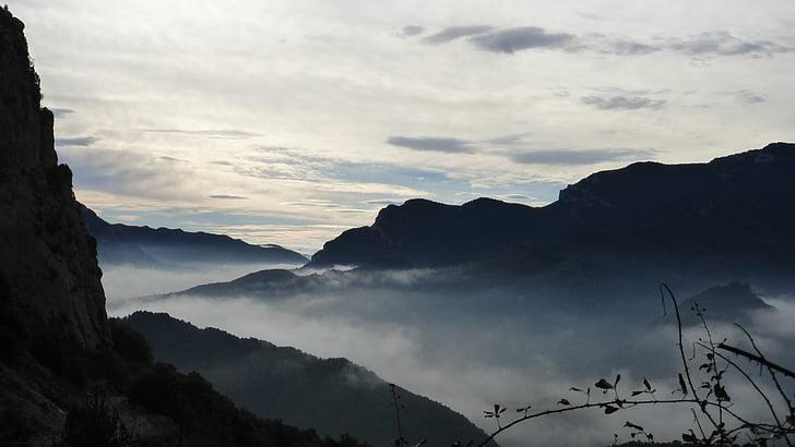 migla, saulriets, miera, ainava, kalns, daba, kalna virsotni