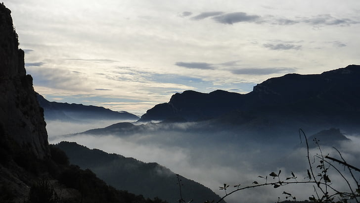 boira, posta de sol, Pau, paisatge, muntanya, natura, cim de la muntanya