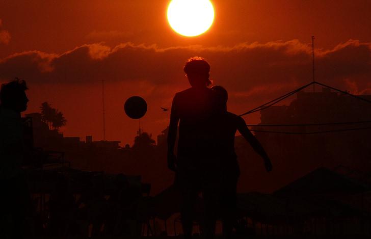 Acapulco, futbol, platja, nois, joc, posta de sol, el sol