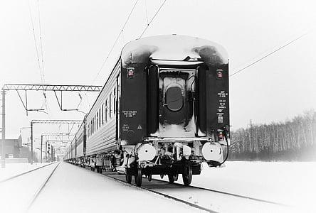 tren, invierno, ferrocarril de, vía férrea, transporte, locomotora, tren de vapor