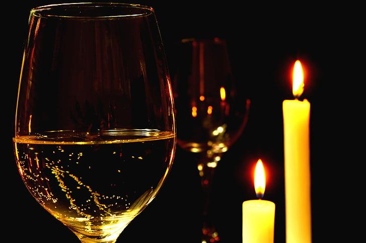 romantisk, romantisk middag, vin, hvitvin, bolle, glass vin, glass hvitvin