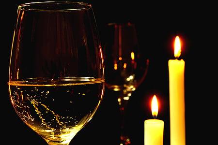 romantisk, romantisk middag, vin, hvidvin, skål, glas vin, glas hvidvin