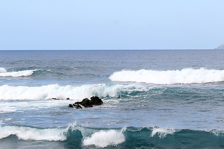 the waves, the atlantic ocean, ocean, water, rocks, the coast, island