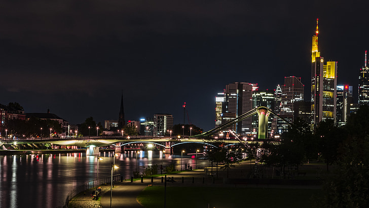 frankfurt, main river, night, city, city night, skyline, architecture
