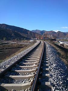 road, distance, corner, dream, train, train track, railroad Track