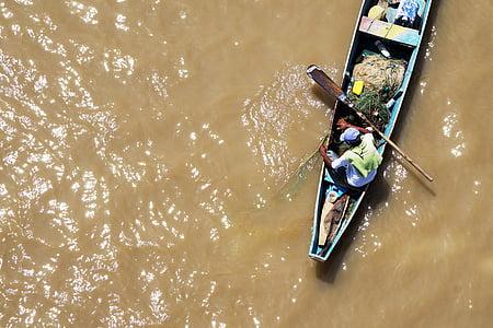 båt, fiskaren, fiske, sjön, mannen, netto, floden