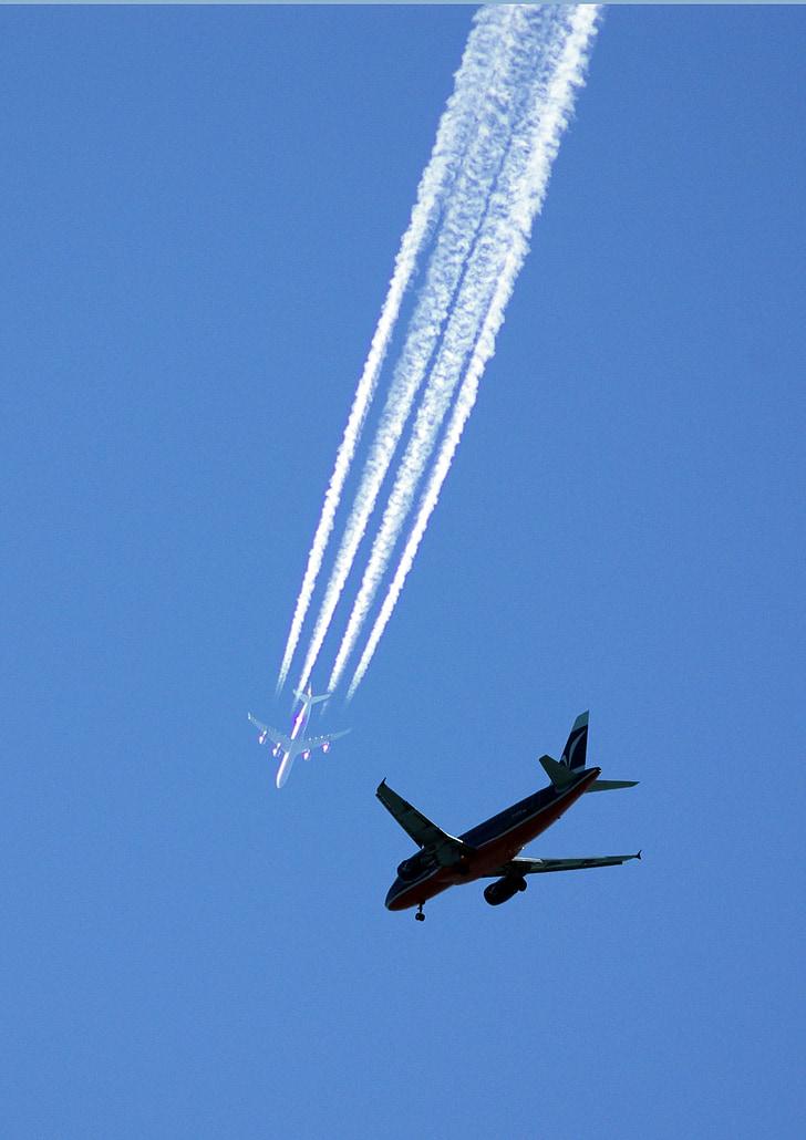 aeronaus, motos, avió de reacció, cel, Inici, jet jumbo, terreny pla