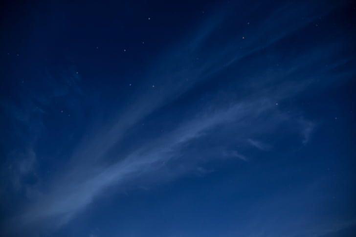 blue, sky, nature, clouds, night, constellations, stars