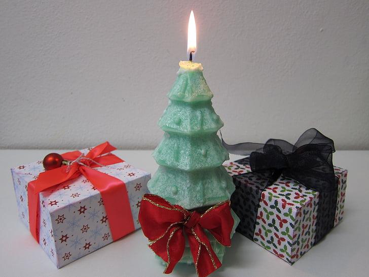 Xmas puu, jõulupuu, küünal, Xmas, roheline, kingitus, käesoleva