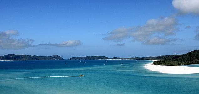 océan, mer, bleu, eau, plage, Australie, grande-barrière - récif