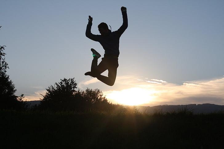 posta de sol, salt, diversió, alegria, ombra, saltant, silueta