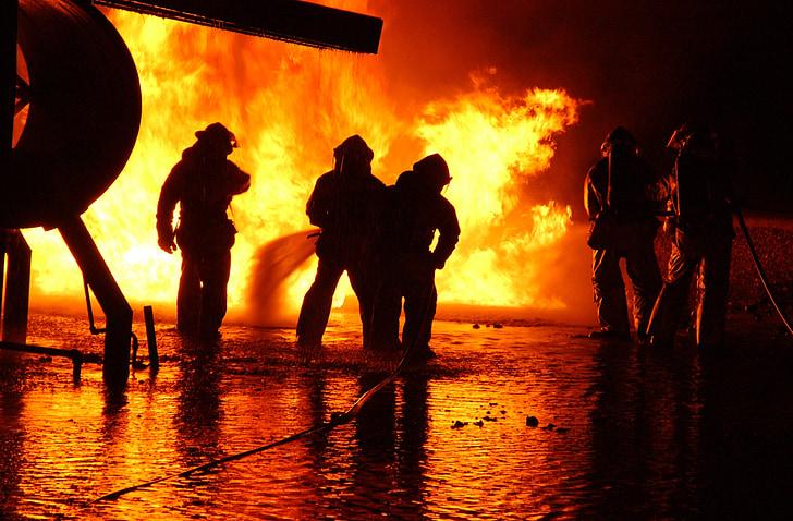 tűzoltó, képzés, Live, tűz, ellenőrzött, védelem, veszély