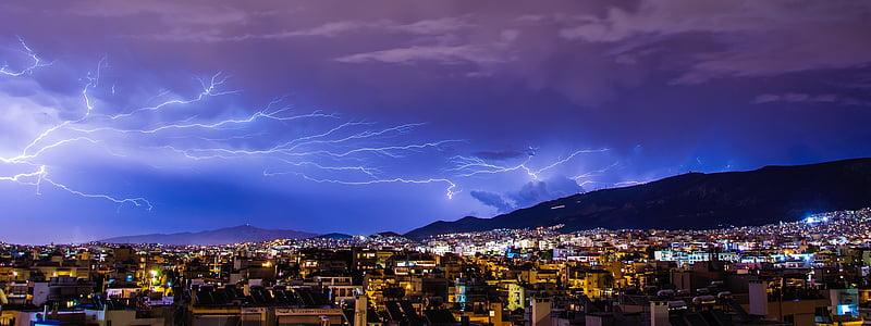 mennydörgés, világítás, villám, felhő, csavar, Jórészt felhős, villám-vihar