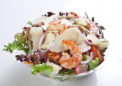 salat, kauss, jahu, krevetid, juustu, tomat, värske