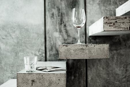 två, dricka, Glasögon, grå, trä, trappa, nycklar