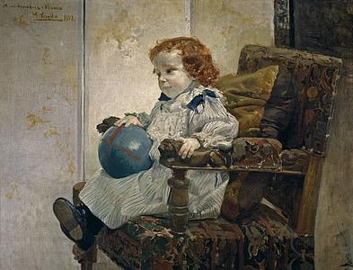 joaquin sorolla, เด็ก, สาว, เก้าอี้, ศิลปะ, ภาพวาด, สีน้ำมันบนผ้าใบ