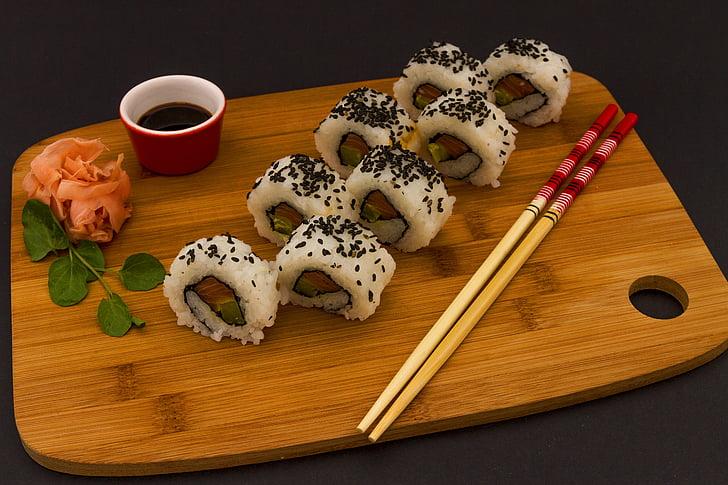 храна, ориз, соев, пръчици за хранене, сьомга, Японски, японски Кук