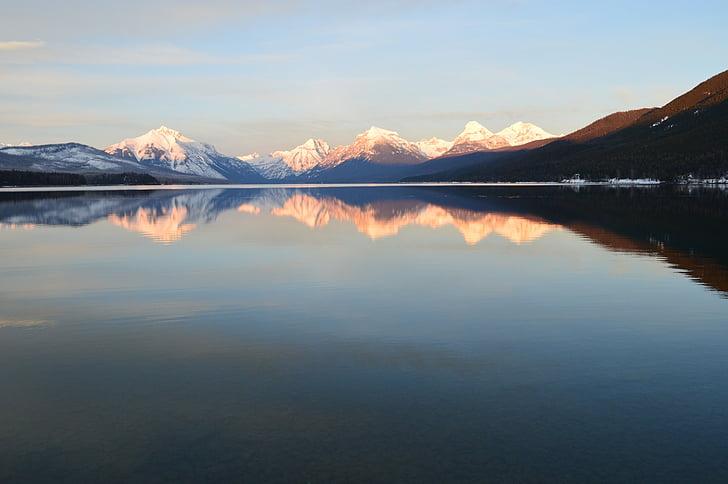 Llac mcdonald, paisatge, reflexió, l'aigua, muntanyes, Glacera del parc nacional, Montana