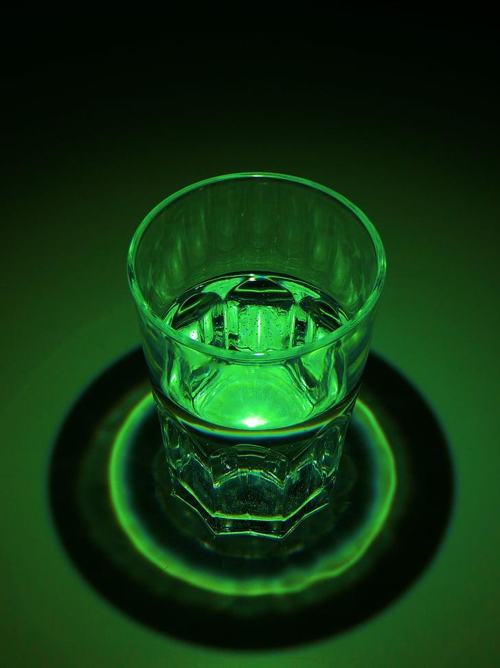 Yeşil, ışık, karanlık, cam, Pozlama, kontrast, su