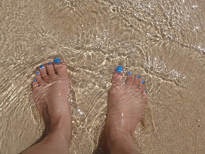peus, sorra, dits dels peus, oceà, Mar, l'aigua, platja
