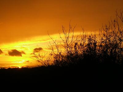 solnedgång, Afterglow, kvällshimmel, romantiska, moln, naturen, Sky