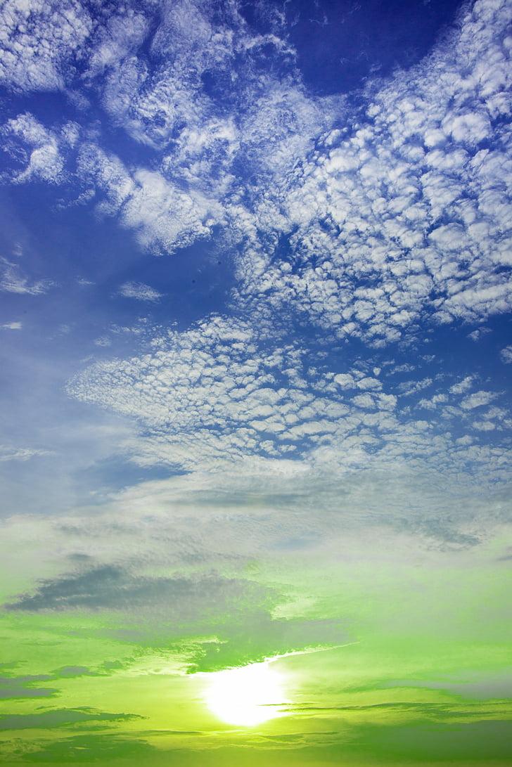 Sunset, Värviline taevas, pilved taevas, loodus, sinine, pilve - taevas, taevas