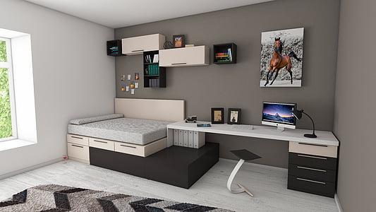 Apartament, llit, dormitori, lleixes de llibre, llibres, catifa, cadira
