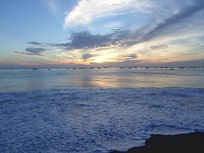 Beach, more, Ocean, západ slnka, Srí lanka, Príroda