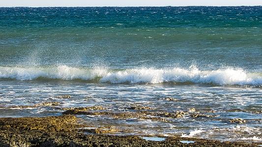 hullám, Beach, tengerpart, spray, tenger, hab, teljesítmény