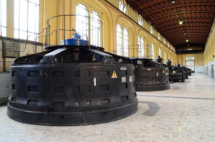 generatorius, turbina, hidroelektrinių, taccani, Trezzo sull'adda, Centrale, hidroelektrinių upė
